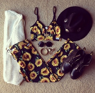 floral combat boots sunflower top crop tops sunglasses summer outfits cardigan pants hat tan