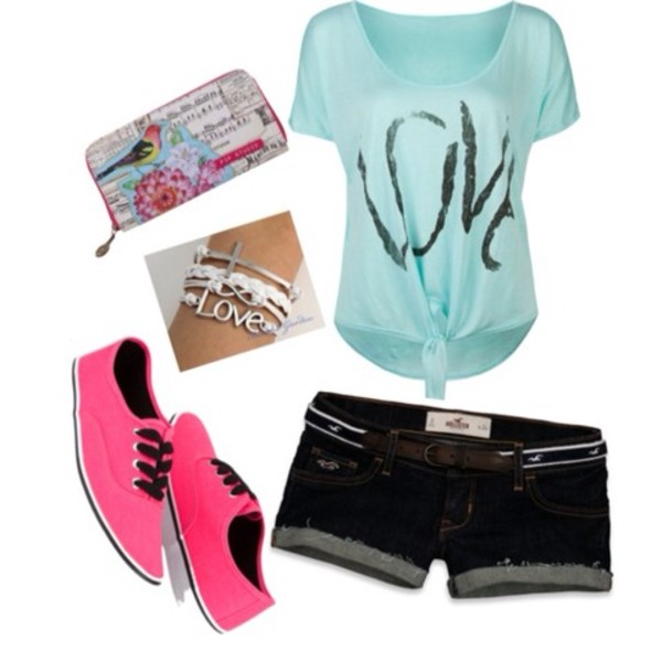 Shirt mint summer outfits vans jewelry shorts - Wheretoget
