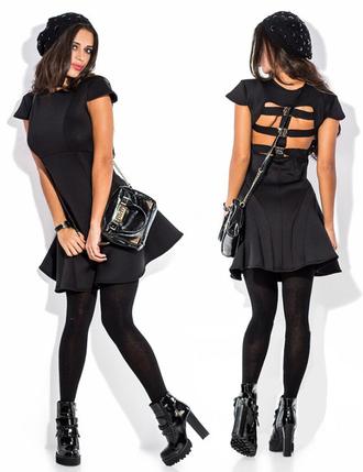 dress zefinka cute dress cut-out dress black dress outfit