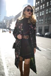 the classy cubicle,blogger,dress,jacket,belt,shoes,bag,sunglasses,fall outfits,coat,boots,over the knee boots,zanita