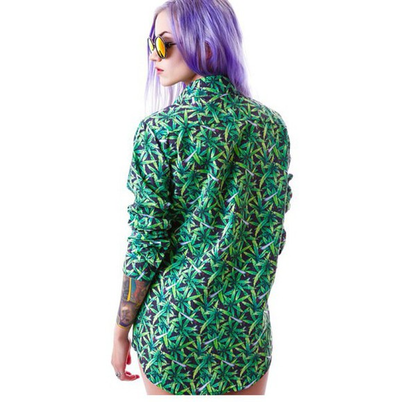 mary jane marijuana button downs blouse shirt weed shirt