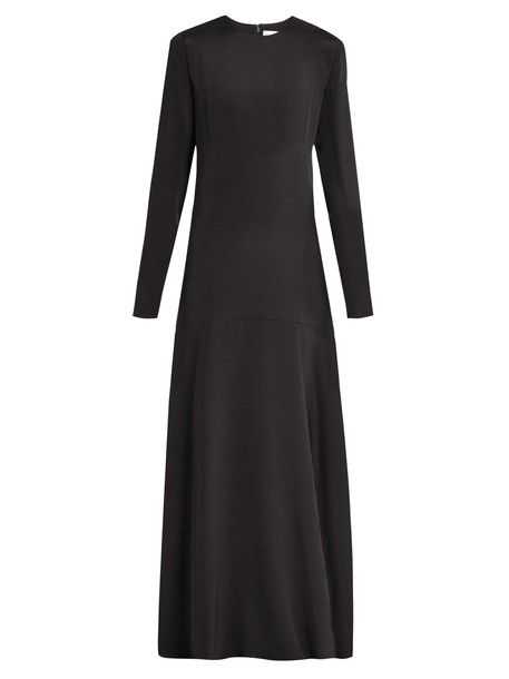 gown long silk black dress