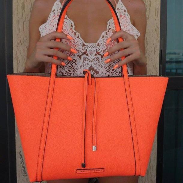 bag, women tote, oversized bag, orange, neon orange, orange bag ...