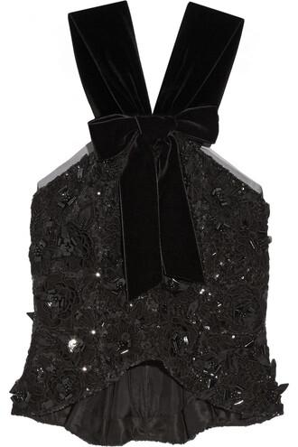 top peplum top embellished lace velvet black