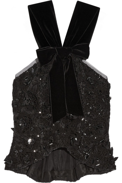 top peplum top embellished lace velvet black