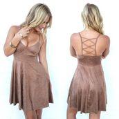 dress,brown dress,faux suede dress,v neck dress,criss cross back dress
