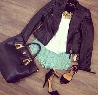 shoes shorts light blue summer outfits lace up jacket sandals black fashion lace high heels sexy crop tops white laced shorts mini shorts green big bag jewels swag