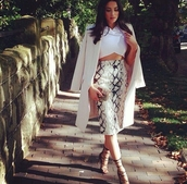 skirt,midi,high waisted,crop tops,white,outfit,spring,python print,snake,print,heels,black,lace up,top,coat,jacket,shoes,shirt
