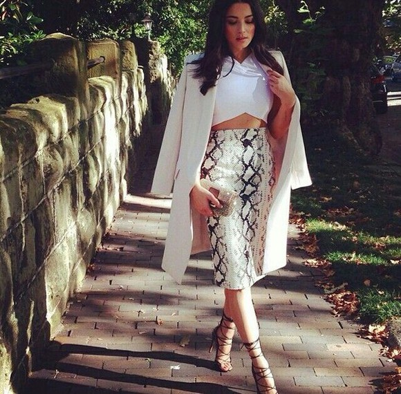 shoes snake jacket white skirt midi highwaisted shorts crop tops outfit spring python print print high heels black lace up top coat shirt