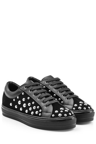 suede sneakers embellished sneakers suede black shoes