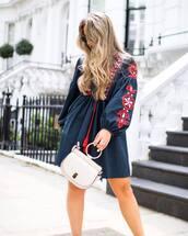 dress,navy dress,tumblr,navy,blue dress,long sleeves,long sleeve dress,embroidered dress,bag,white bag,handbag
