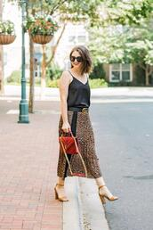 polishedclosets,blogger,top,skirt,shoes,sunglasses,bag,belt,sandals,midi skirt,camisole,fall outfits,red bag