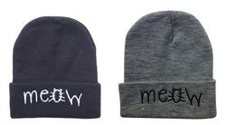 De nouveaux styles 2 meow bonnet. chapeaux, gris noir solide de haute qualité pour hommes ou femmes hiver