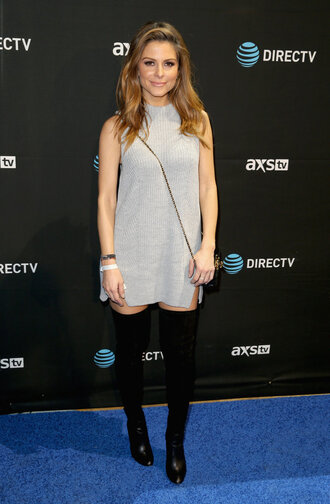 dress knitwear knitted dress maria menounos over the knee boots silver grey mini dress oversized sweater