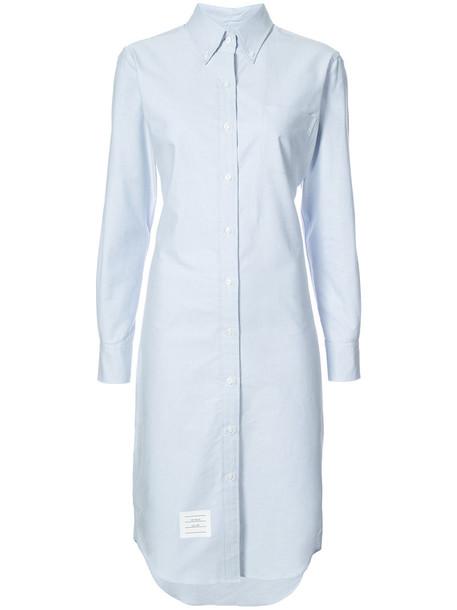 dress shirt dress women midi cotton blue