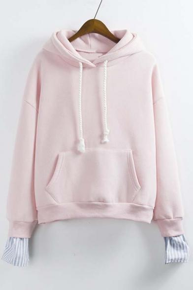 2016 Fashion Faux Two-piece Drawstring Hooded Sweatshirt with Kangaroo Pocket