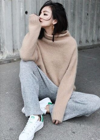 pants clothes loose fit addidas stella mccartney joggers pants beige top sweater