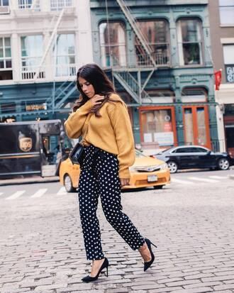sweater tumblr yellow yellow sweater pants printed pants pumps pointed toe pumps fall outfits office outfits