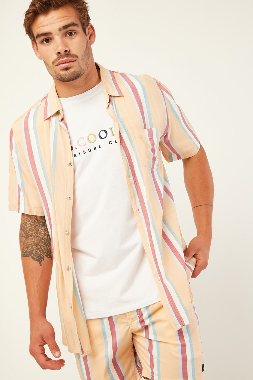 Barney Cools Holiday Ss Shirt Mustard Vert Stripe