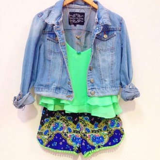 shorts pom pom shorts blue green paisley floral loose pink yellow black white jacket top