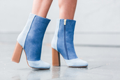 shoes,blue boots,denim,tumblr,boots,patchwork,thick heel,stacked wood heels,block heels,ankle boots,high heels boots