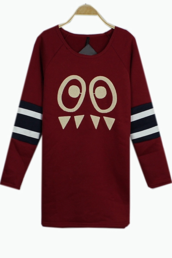 Burgundy Embroidered Longsleeve Hoodie | Tradesy
