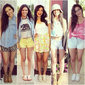 top outfit bethany mota celebrity style omg girlz beige hat shirt glasses
