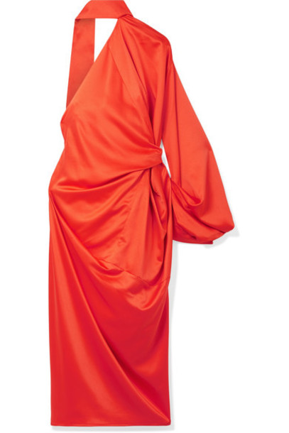 Solace London dress draped satin orange bright