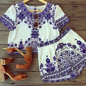 romper two-piece blue white fashion style shoes