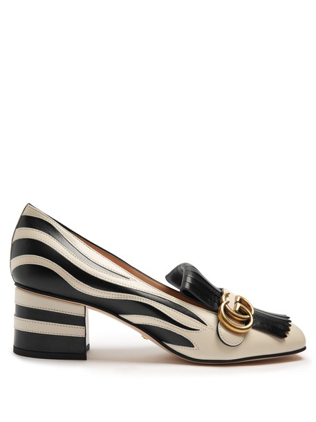 gucci zebra loafers leather white black shoes