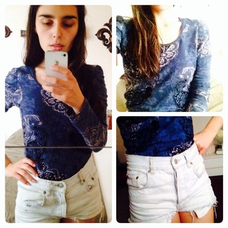 blouse spring summer 2014 blue ornaments white high waist shorts summer blouse blue blouse donika ve donika style donika  ve top