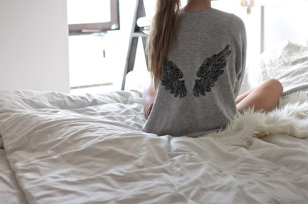 sweater angel angel wing grey wings wings sweater long sleeves
