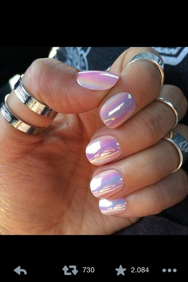 rainbow nail polish nails pink white reflect nailpolish beautiful hands hand black ring