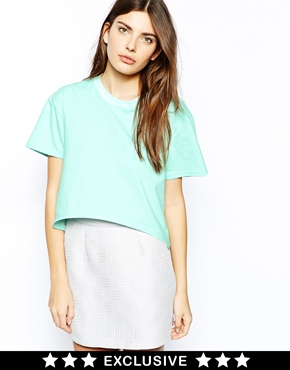 Lavish Alice | Lavish Alice Structured T-Shirt with Curved Hem and Ribbed Neck at ASOS