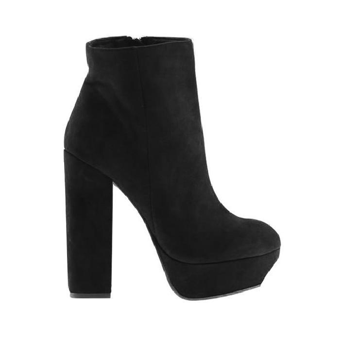 Black Suede Platform High Heel Boots - Sheinside.com