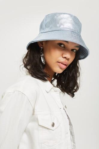 metallic hat bucket hat blue