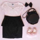 top,pink,rose,shoes,skirt,cute,dress,t-shirt,flowers,bow,bag