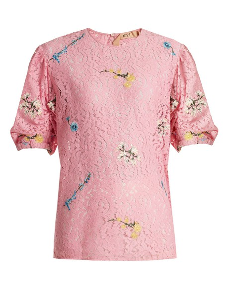 No. 21 top lace top embroidered lace floral pink