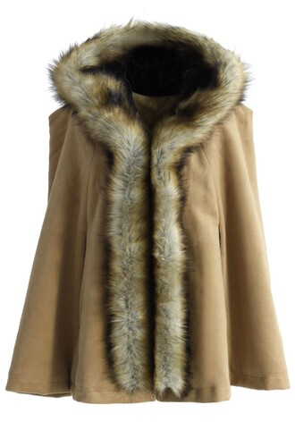 chicwish luxury faux fur hooded cape khaki cape fashion and chic