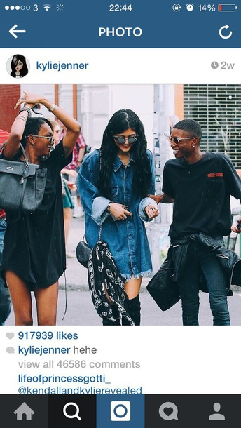 blouse kylie jenner denim shirt black boots