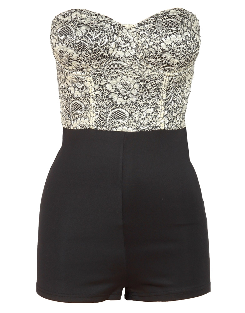 Black Lace Contrast Bustier Playsuit