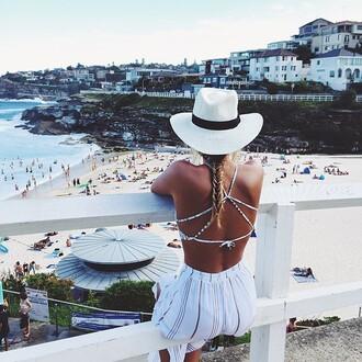 dress open back dresses hat swimwear criss cross crop romper cute stripes beach
