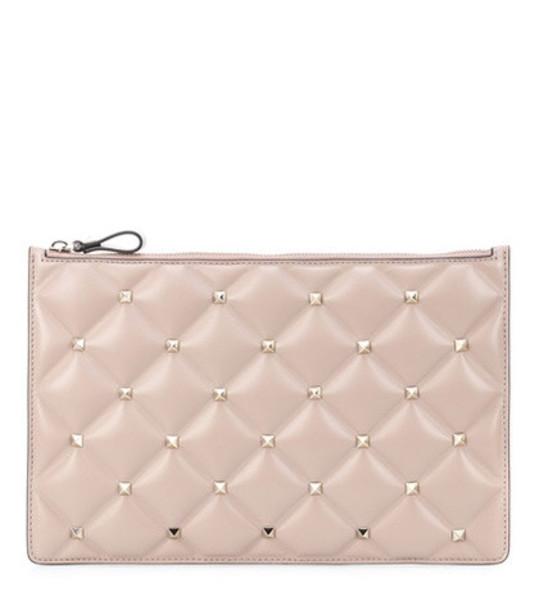 Valentino Garavani Candystud leather clutch in pink
