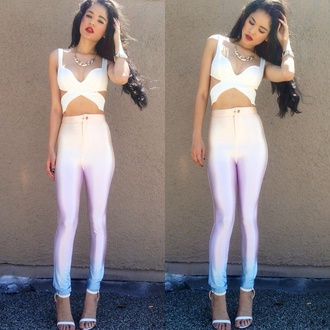white cutout wrap crop  top white high waisted disco pants top