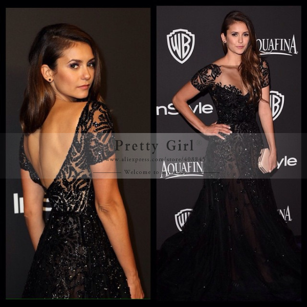 Aliexpress.com : buy nina dobrev golden globes fashion 2015 black long celebrity dresses scoop short sleeve backless sexy prom evening gowns from reliable gown evening dress suppliers on pretty girl trade co., ltd
