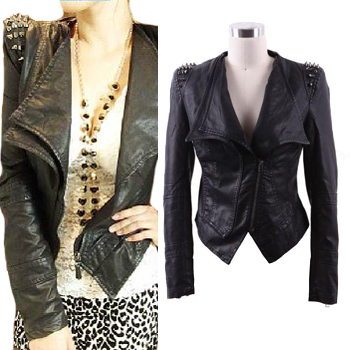Fashion Punk Studded Shoulder Rivet PU Leather Slim Short Black Blue Women's Jacket-in Leather & Suede from Apparel & Accessories on Aliexpress.com