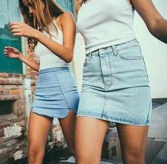 skirt blue jeans