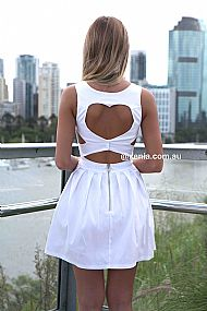 HEART CUT OUT DRESS  , DRESSES, TOPS, BOTTOMS, JACKETS & JUMPERS, ACCESSORIES, SALE, PRE ORDER, NEW ARRIVALS, PLAYSUIT, COLOUR,,White,CUT OUT Australia, Queensland, Brisbane