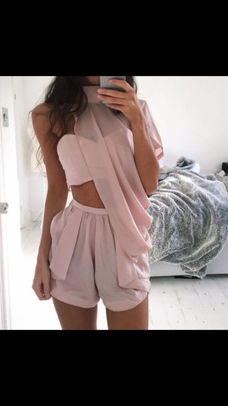 jumpsuit dusty pink pink pink dress party dress cute girly sexy romantic party outfits sexy outfit