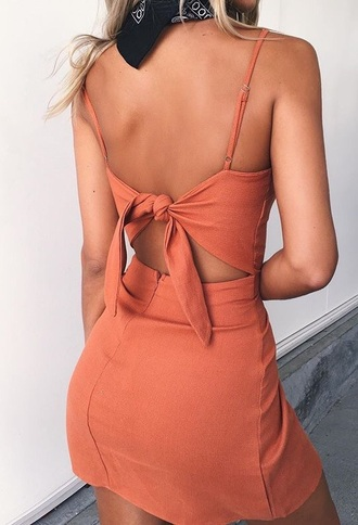 dress tied dress silk silk dress orange dress orange